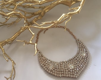Gold necklace with silver crystals
