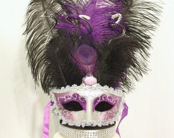 Mardi Gras, Masquerade, Mask Cake Topper Purple and Silver, overthetopcaketopper
