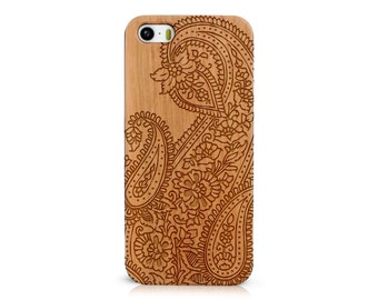 Wood Cellphone Case with Hand Drawn Doodle Inspired Floral Leafy Paisley Pattern Laser Engraving for iPhone 5/S, 6/S and 6 plus IP-052