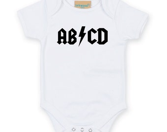 ABCD Rock Baby Onesie. ACDC Parody Baby Grow. Baby Bodysuit. Newborn Gift. Baby Shower Gift. Funny Baby Grow.