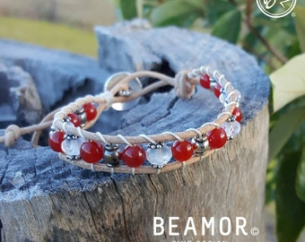 Carnelian single leather wrap