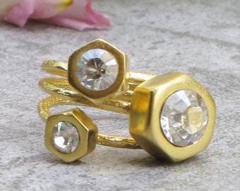 Set of 3 Stacking Rings Swarovski Crystal Statement Ring 24k Gold Ring Set Sparkling Ring Boho Ring Stackable Rings Rings Set