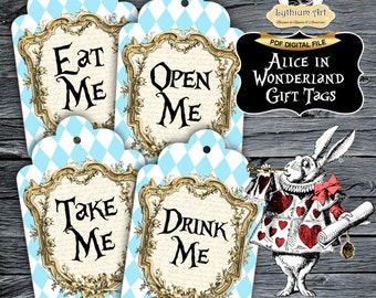 Alice in Wonderland Gift Tags - Alice in Wonderland Printable Tags - Drink Me - Eat Me - Take Me - Open Me - Alice in Wonderland Decor