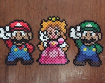 Super mario bros peace sign perler bead art