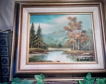 Landscape Oil Painting is Original Framed and Signed Vintage Wall Art