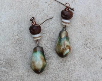 14 Porcelain and wooden bead dangle earrings, sterling ear wires, rustic, boho, artisan