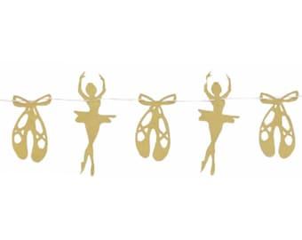 Ballerina Banner - RTS Banner - Ballerina Theme - Ballerina Room - Ballerina Nursery - Ballerina Birthday - Ballerina Party - Gold Ballerina