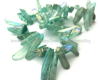 1 Strand Titanium Crystal Quartz Drilled Beads Natural Crystals Emerald Lake Aurora Quartz Bead Titanium Plated Stones Approx. 8inch strand