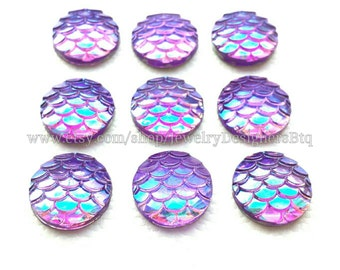 10-50pcs 12mm Mermaid Cabochons Iridescent Mermaids Cabochon Fish Scale Dragon Snake Skin Resin Cellphone Deco Scrapbooking AB Light Purple