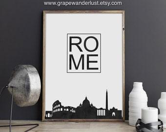 Rome art, Rome print, Rome poster, Rome skyline, Italy art, Italy print,Minimalist art, skyline print, home wall art, Cityscape, City poster