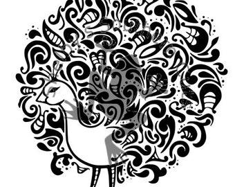 Fancy Peacock .SVG .DXF files