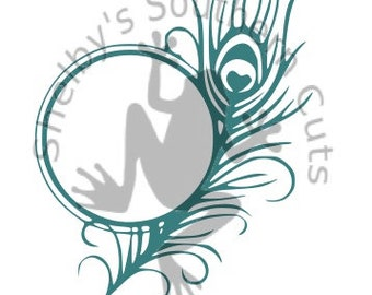 Feather Monogram SVG.DXF.EPS