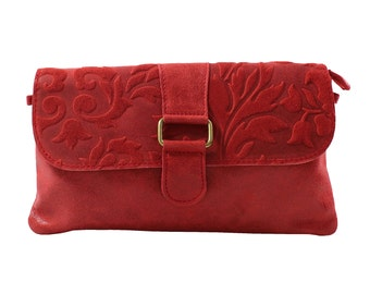 Woman's clutch, shoulder bag, handbag in genuine leather Made in Italy 10023 Red