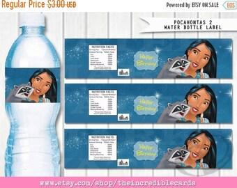 50% OFF SALE Pocahontas Water bottle label / Pocahontas printable PDF / Pocahontas Party / Pocahontas Party / Instant download