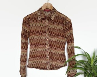 90s vintage sheer golden brown blouse, zig zag patterned, chevron pattern, long sleeve see through button up shirt, 70s look,