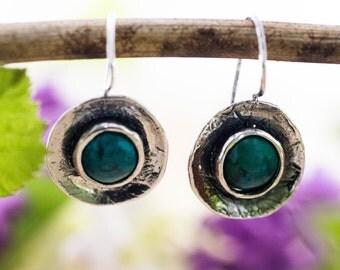 Turquoise Earrings, Silver Turquoise Earrings, Sterling Silver Earrings, December Birthstone Earrings, Winter Earrings, handmade