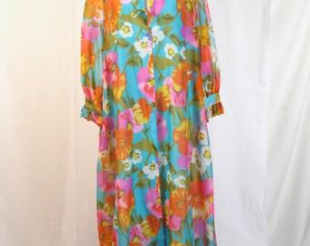 1960s Tent Style Robe  Night Gown  Bathrobe  Full Length Lounge Coat