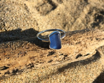 Sterling Silver and Cobalt Blue Seaglass Stack Ring