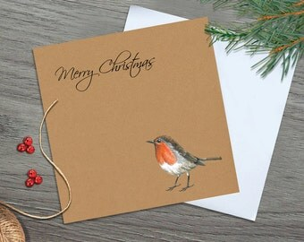 Robin Christmas Cards - Robin Christmas Card - Robin Card - Bird Christmas Card - Christmas Card Robin - Christmas Card - Christmas Art Card