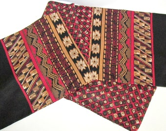 Vintage Opera Scarf, Black Gold Bronze Burgundy, Greek Key Foulard Tribal Design, Fashion Acc Forecaster of Boston, Sash Stole