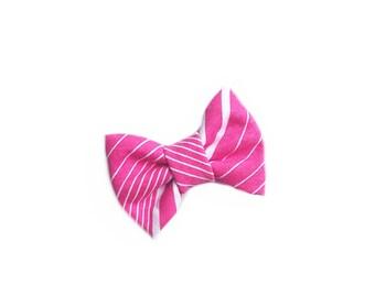 Hot Pink Diagonal Stripe Bow