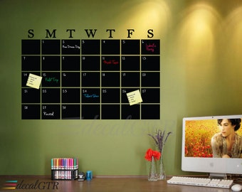 Chalkboard Calendar Decal - Chalkboard Month Calendar Decal - Chalkboard Decal - Black Board Calendar Chalk Vinyl Sticker - C050
