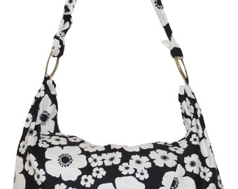 White Flower Hobo Bag Shoulder Bohemian Hippie Hipster Boho Purse Adjustable Strap