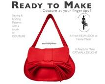 Paper Sewing Pattern Handbag Satchel Purse Shoulder Bag wool felt Womens high fashion patterns full colour sewing tutorial guidance