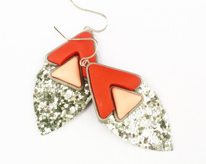 BLING BANG EARRINGS// Coral and peach geometric,  polymer clay and silver glitter canvas drop earrings// Little Tusk// DE2021
