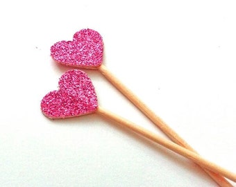 24 Bright Hot Pink Mini Heart Toppers