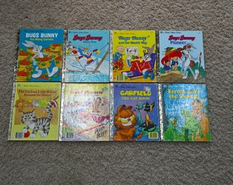 Lot of 8 Vintage Little Golden Books Hardcover Children's Books - Bugs Bunny, Kermit The Frog, Garfield, The Road Runner