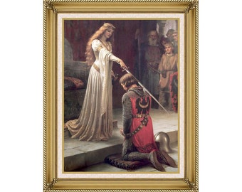 The Accolade Edmund Blair Leighton Framed Victorian Wall Decor Canvas Art Print - Painting Reproduction - Sizes Small to Large - M00774