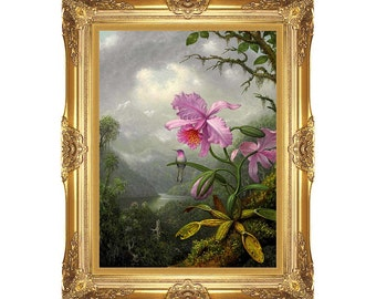 Hummingbird Perched on the Orchid Plant Martin Johnson Heade Framed Canvas Art Print Painting Reproduction - Sizes Small to Large - M00176
