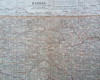 1903 KANSAS Original Large Antique Map - Wall Map - Home Decor - Cartography - 11 x 16 Inches - Detailed Map - Geography