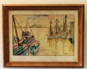 Vintage Boats at Harbor Watercolor by FMR dated 1956