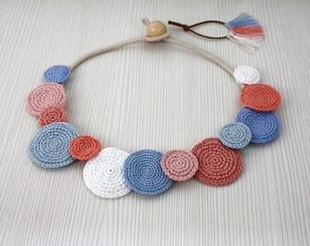 Necklace Circles, Crochet Necklace, Summer Fashion, Statement Necklace, Cotton Crochet Jewelry, Pink Blue Necklace, Necklace, Bib Necklace