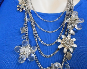 White and Clear Jeweled Flower Necklace w/ Matching Earrings