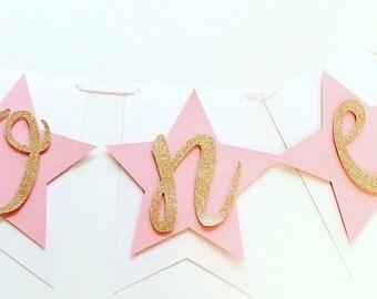 Twinkle Little Star Highchair Banner! First Birthday Banner- ONE with Stars, Star First Birthday Party