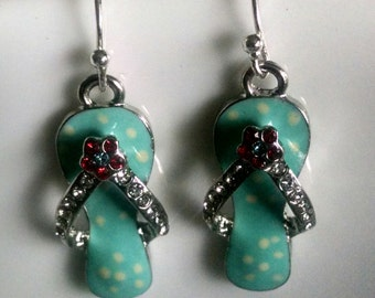 Polka dot  rhinestone Flip flop earrings