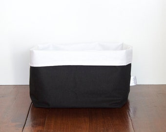 Black Fabric Storage Basket, Monochrome Storage Bin, Black and White Storage Basket, Storage Bin, Nursery Storage, Home Storage Basket