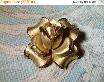 VALENTINES SALE stunning vintage gold filled rose brooch