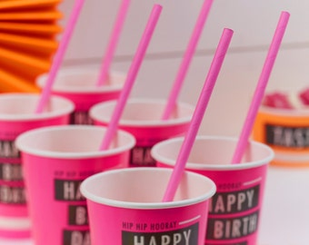 Paper Straws - Neon Pink - Neon Birthday Party Tableware Accessories Party Supplies