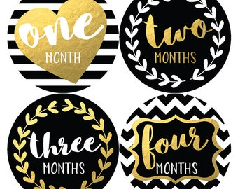 Baby Monthly Stickers, Baby Month Stickers, Monthly Bodysuit Stickers, Gold and Black, Baby Shower Gift