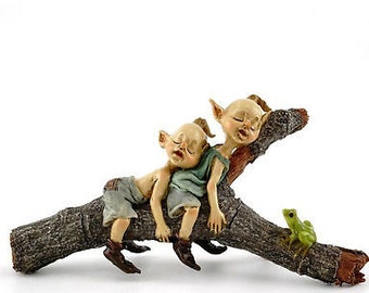"5.75"" Twin Garden Pixies Napping on Tree Log Fairy Garden Terrarium Dollhouse"
