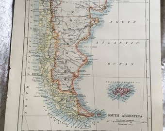 Vintage map of Argentina and South American cities