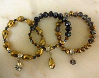 Gold Faceted Crystal Stretch Bracelet Set, 3 Bracelets