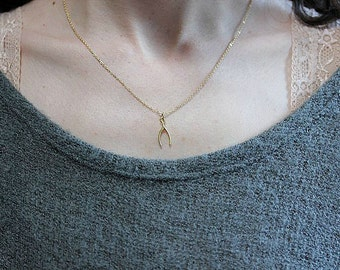 Wishbone necklace - Gold Wishbone necklace - Lucky charm necklace - Minimalist Jewelry - Make a Wish necklace - Graduation Gift