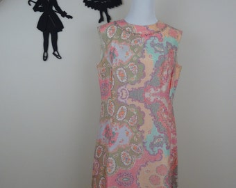 Vintage 1960's Floral Shift Dress / 60s Frances Brewster Dress M  tr