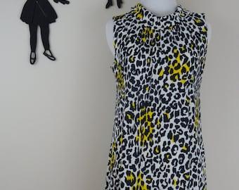 Vintage 1960's Leopard Print Dress / 60s Lounge Wear Dress S/M