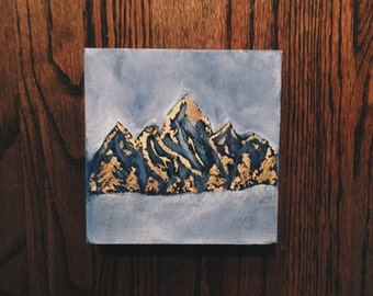 6x6 gold leaf mountain painting, abstract mountain scene, mountain painting, small blue painting
